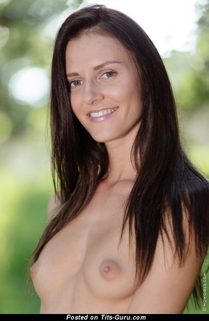 Image. Nude brunette with medium breast image