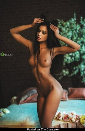 Image. Sexy topless brunette with small boobies pic