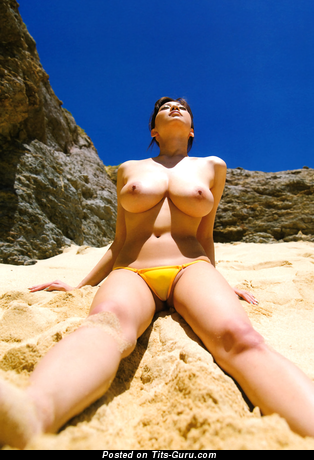 Shion Utsunomiya - Sexy Topless Japanese Brunette Pornstar with Sexy Defenseless Real Tight Tots & Inverted Nipples in Bikini on the Beach (Hd Sex Pic)