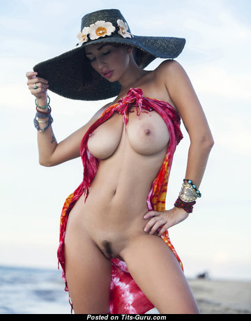 Superb Brunette Babe with Superb Exposed Real Firm Balloons on the Beach (18+ Photo)
