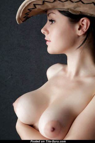 Alluring Topless Brunette Babe & Cowgirl with Alluring Open Real Tight Tots (18+ Image)