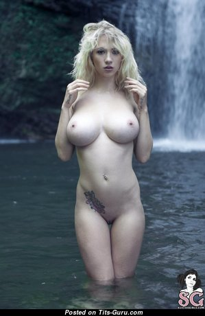 Natasha Legeyda - Amazing Russian Blonde Babe with Amazing Naked Natural Full Tots, Piercing & Tattoo (Porn Foto)