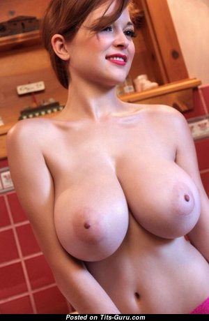 Cute Red Hair Babe with Cute Defenseless G Size Melons (18+ Photo)
