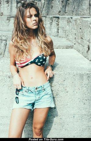Federica Gasparini - Fine Non-Nude Brunette Babe with Adorable Real Titty & Sexy Legs in Bikini & Shorts (18+ Photoshoot)