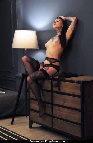 Дарья Смирнова - Delightful Brunette with Delightful Bald Regular Boobie, Piercing & Tattoo (Hd Sex Image)