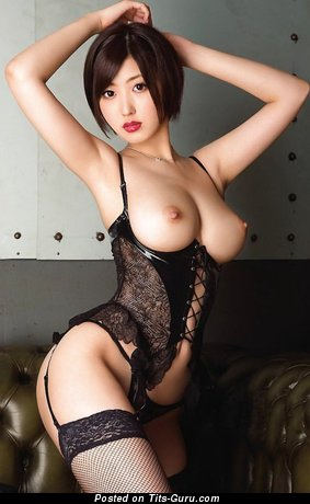 Asahi Mizuno - sexy topless asian brunette with medium breast pic