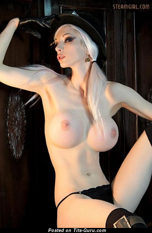 Kato Steamgirl - sexy wet amateur naked asian blonde with medium fake tittys and big nipples photo