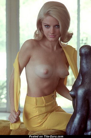 Anne Randall - Dazzling Topless American Blonde Babe with Dazzling Nude Natural Miniature Titty & Big Nipples (Vintage Porn Image)