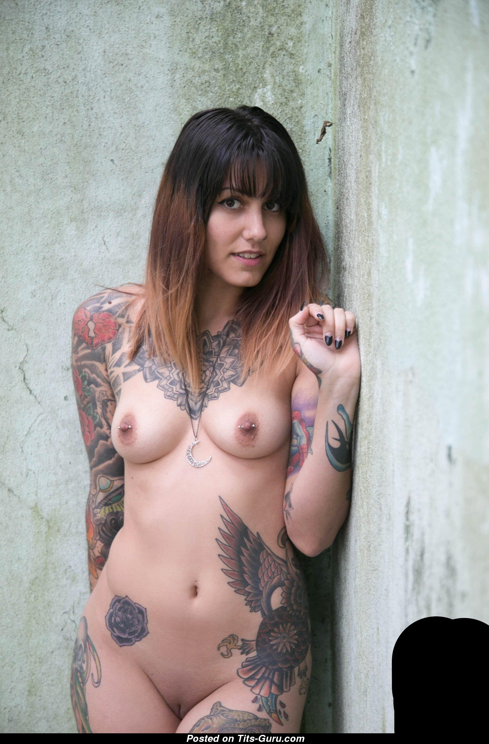 Splendid Chick with Splendid Open Natural Average Tots, Weird Nipples,  Piercing & Tattoo (Hd Porn Photo)