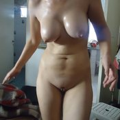 Hot lady with medium tits photo