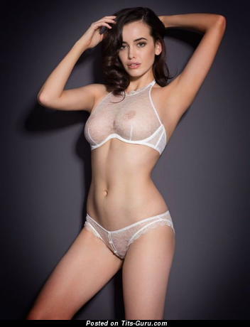 Adorable Non-Nude Brunette with Adorable Real Medium Busts in Panties & Lingerie (Sexual Pic)