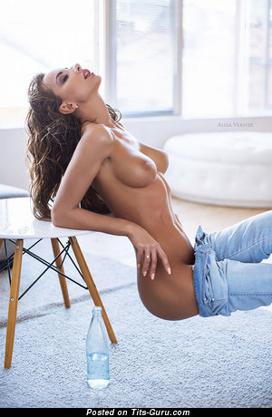 Topless amazing woman with medium natural tits image