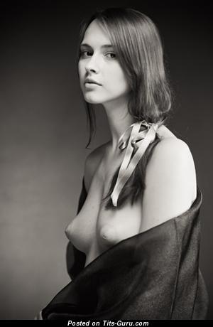 Nude nice female with medium natural boobies vintage