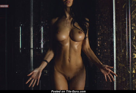 Fascinating Topless Babe with Fascinating Nude Round Fake C Size Knockers & Large Nipples (Hd Sexual Pic)