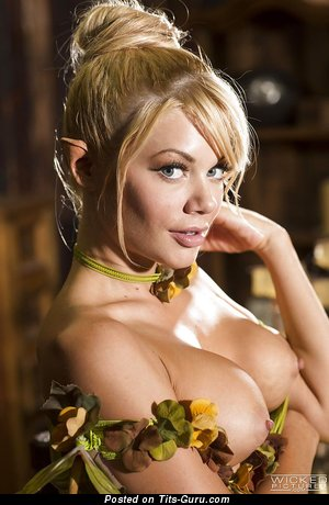 Riley Steele - nude blonde with medium fake boobs pic