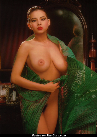 Angela Melini - Delightful Topless Vietnamese, American Playboy Red Hair with Delightful Nude Natural Breasts (Porn Pic)