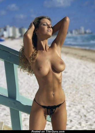 Myriel Brechtel - Nice Topless Playboy Red Hair with Nice Open Natural H Size Busts on the Beach (Xxx Image)
