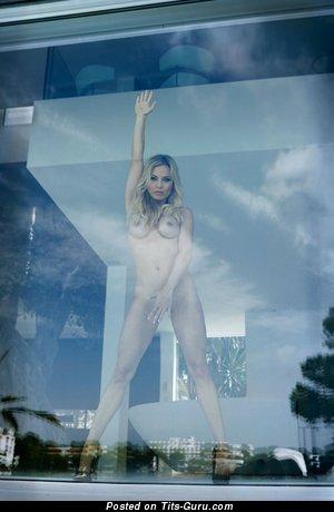 Image. Naked wonderful lady with medium fake breast image