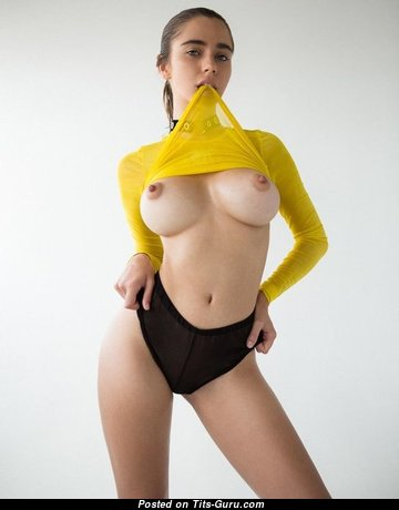 Holly James - Perfect Glamour & Topless British Brunette with Perfect Nude Silicone Melons is Undressing (Porn Photo)