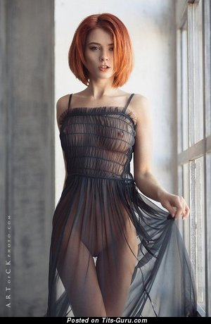 Marta Gromova - sexy naked red hair with small natural boobs pic