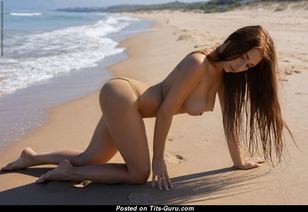 Niemira - Dazzling Ukrainian Red Hair with Dazzling Naked Real Tittes & Big Nipples on the Beach (Hd Xxx Image)