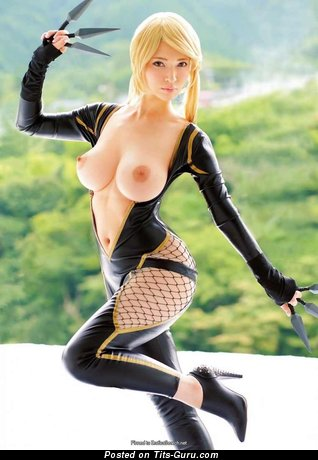 Topless asian blonde photo