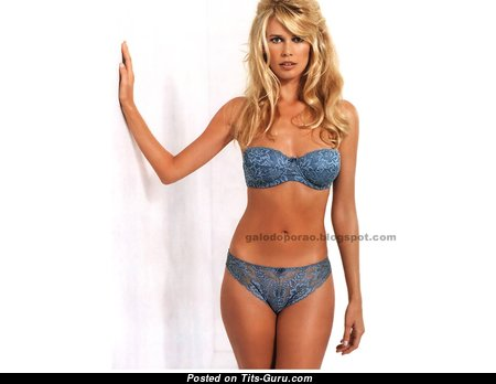 Claudia Schiffer - Delightful Non-Nude German Blonde Babe with Delightful Medium Sized Boobie, Enormous Nipples, Sexy Legs in Lingerie & Panties (Hd Sexual Photoshoot)