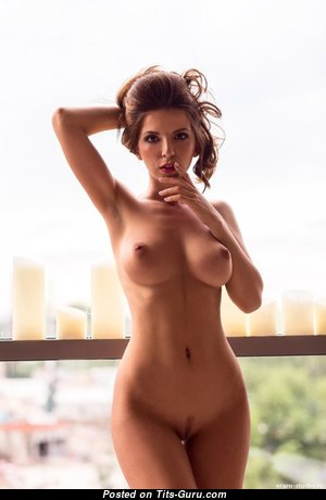 Appealing Playboy Babe with Appealing Bare Natural Average Melons & Big Nipples (Hd Porn Pic)