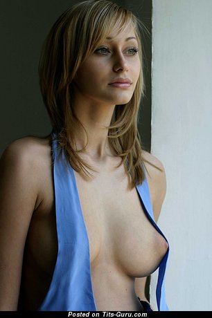 Image. Nude beautiful woman with medium natural boobies photo