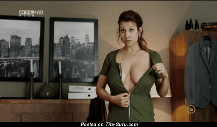 Alexandra Horváth - sexy topless brunette with big natural boobs and big nipples gif