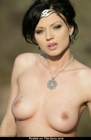 Image. Naked brunette with medium natural tittys pic