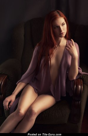 Hot Red Hair with Handsome Nude Real Breasts & Sexy Legs (Hd Porn Image)