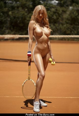 Pleasing Topless Playboy Blonde Babe is Playing Tennis (Hd Porn Picture)