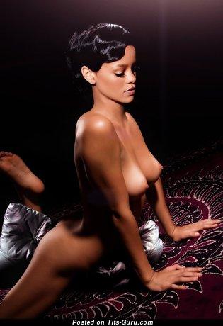 Rihanna - Splendid Topless Ebony Brunette Singer & Actress with Splendid Exposed Natural C Size Boobies & Big Nipples (Vintage Hd Sex Image)