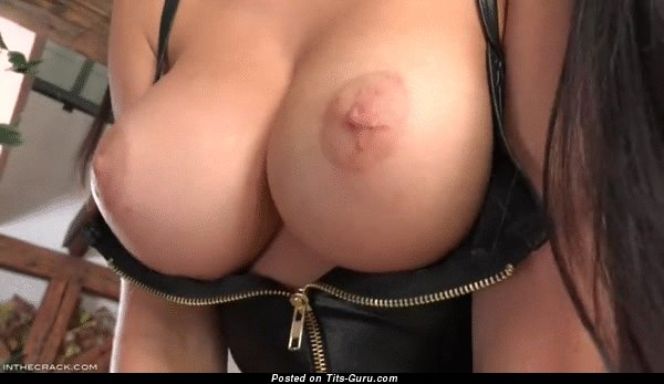 Sexy naked asian brunette with natural boob and big nipples gif
