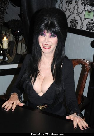 Elvira - Stunning Glamour & Non-Nude Mom, Babe & Actress with Stunning Dd Size Titty & Sexy Legs is Smoking on the Party (Vintage Sexual Image)