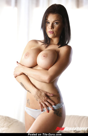 Sweet Brunette with Sweet Exposed Fake Mid Size Busts & Tattoo (Hd Porn Photoshoot)
