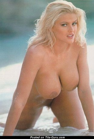 Anna Nicole Smith - sexy topless blonde with big fake boobies and big nipples vintage