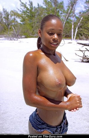Image. Nude ebony with medium natural tots image