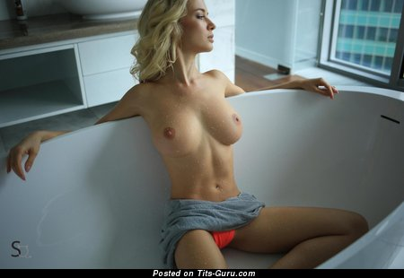 Delilah G Aka Monroq - sexy wet nude blonde with medium natural tittes image