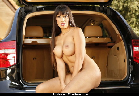 Nude brunette with big fake tittes picture
