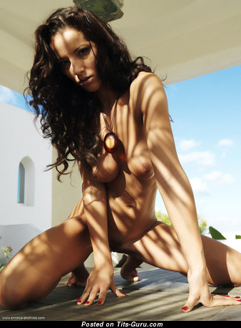 Image. Angel Dark - naked brunette with medium natural tits pic