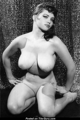 Rosina Revelle - Charming British Brunette Babe with Charming Open Real Knockers (Vintage Xxx Photo)