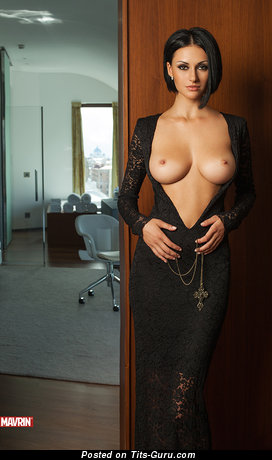 Julia Androschuk - sexy topless brunette with medium natural boob and big nipples pic