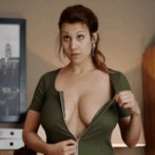 Nude brunette with natural tittes gif