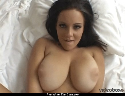 Image. Sexy topless brunette with big natural boob gif