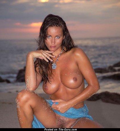 Image. Sexy naked beautiful lady with medium fake boobies pic