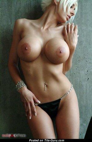 Stunning Blonde with Stunning Bald Round Fake Busts in Panties (Porn Image)