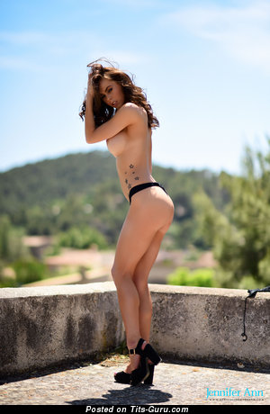 Image. Jennifer Ann - nude brunette with big boobs and tattoo image