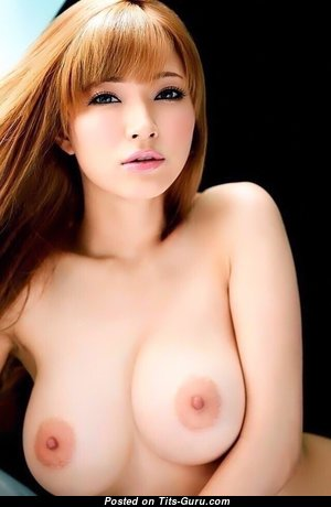 Tia Bejean - Lovely Japanese Red Hair Babe with Lovely Bare Natural C Size Titty (Porn Photoshoot)